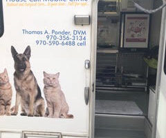 The entrance to the mobile pet clinic