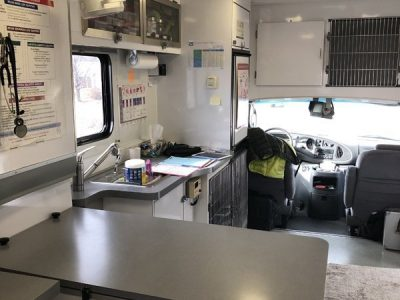 The inside of the mobile clinic